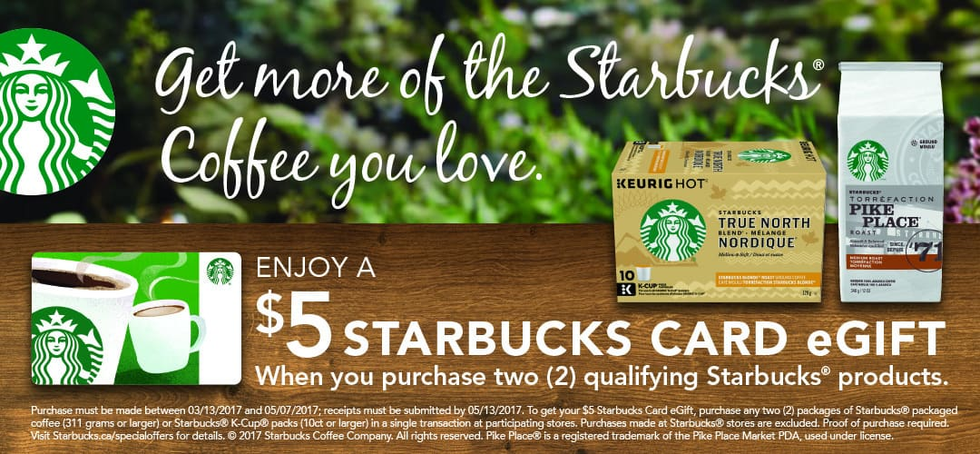 Starbucks Canada: Free $5 Gift Card with Purchase -