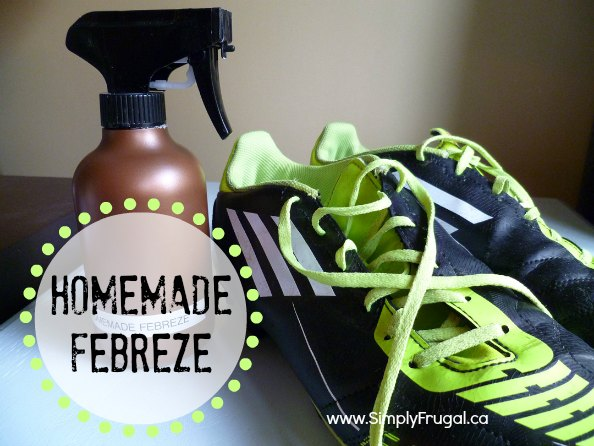 This homemade fabric refresher (Febreze) uses only four ingredients!