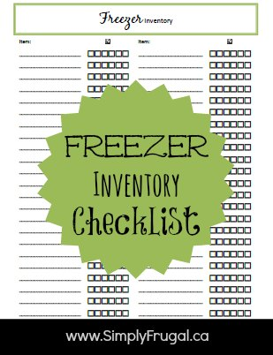 Freezer Inventory Checklist!