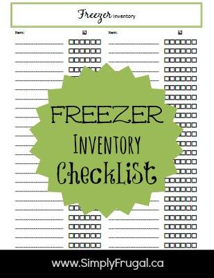Freezer Inventory Checklist!