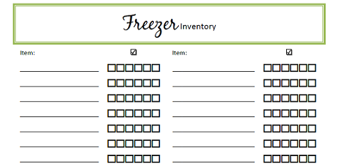 Freezer Inventory Checklist