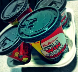 roll up the rim at Tim Hortons