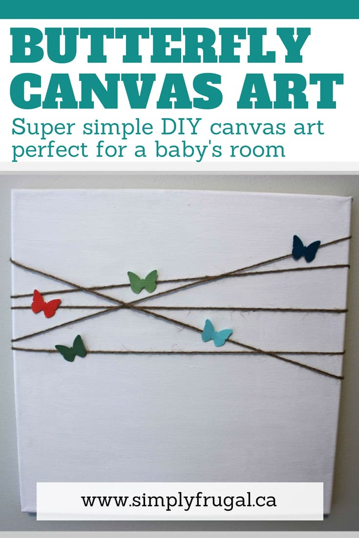 This project is a super simple canvas art project perfect for a baby's room. #diy #diyart #canvasart #nursery #nurseryideas