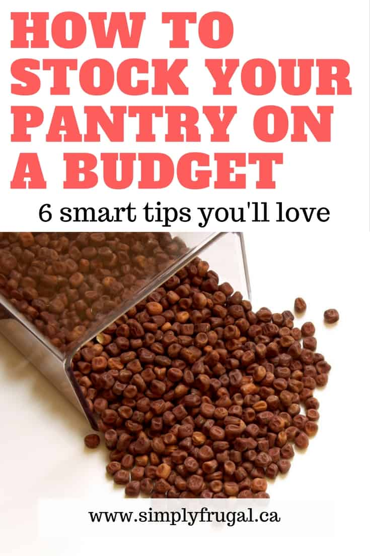 Having a well-stocked pantry can help make or break your grocery budget each month. Here are 6 fabulous tips to help you stock your pantry on a budget. #pantry #pantrystaples #howto #grocerytips #grocerysavingtips