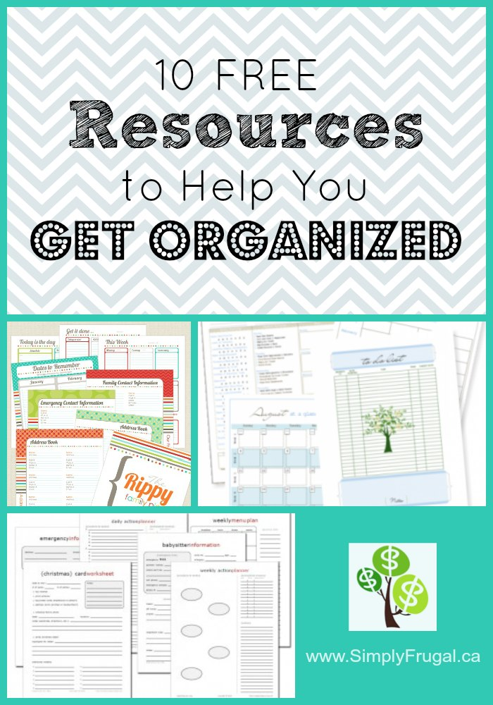 Free Resources to Help You Get Organized. Organizing printables.