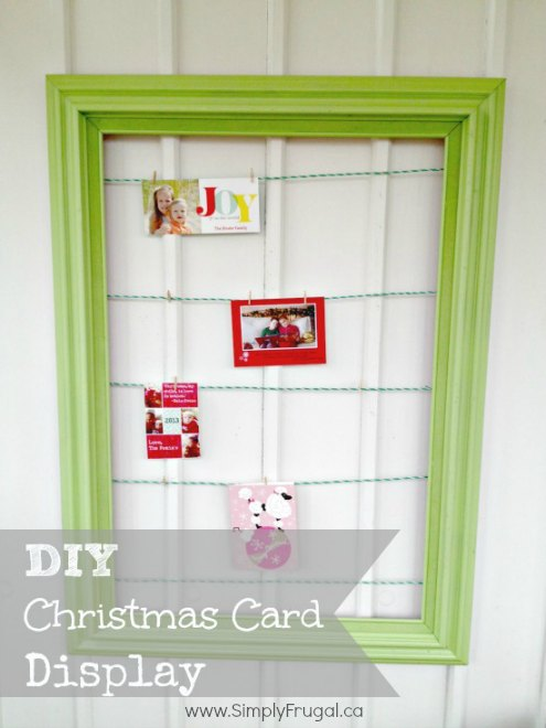 Gather your supplies and give this simple DIY Christmas Card Display a try. It is a project you are sure to enjoy, as it is festive, frugal, AND functional!