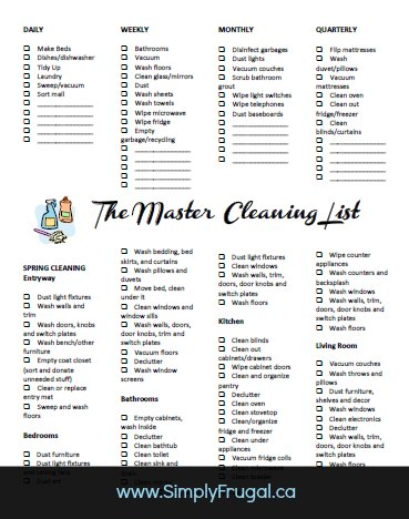 the master cleaning list free printable