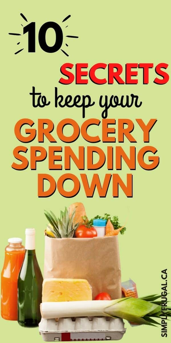 Grocery bill too high? Here are 10 Secrets that will lower your grocery bill now! I love these grocery saving tips. Such practical ways to keep your grocery spending down.