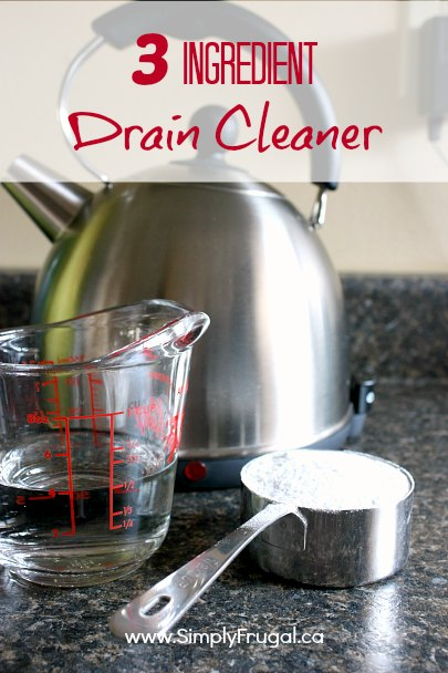 Naturally freshen and unclog your drains with this DIY natural drain cleaner! It uses only three ingredients!