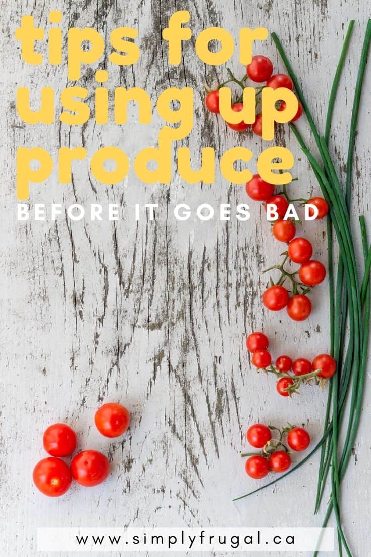 With the cost of fresh produce these days, one of the biggest ways you can waste money is to let produce go bad before you use it. Here are several tips that will help you use up produce before it goes bad, essentially keeping more money in your pocket!