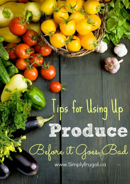 One of the biggest ways you can waste money is to let produce go bad before you use it. Here are several tips for using up produce before it goes bad.