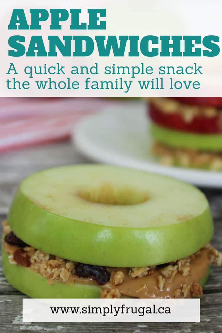 These apple sandwiches fall under the category of simple, delicious and budget-friendly. A snack the whole family will love!