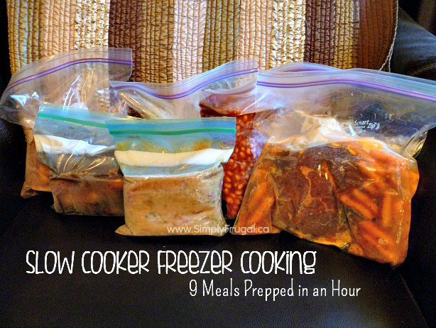 Slow Cooker Freezer Cooking: 9 Meals in about an Hour!