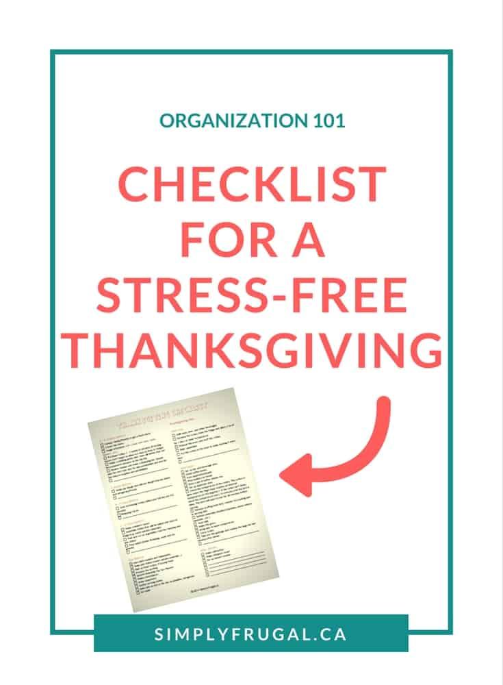 Thanksgiving Checklist, Stress-free thanksgiving