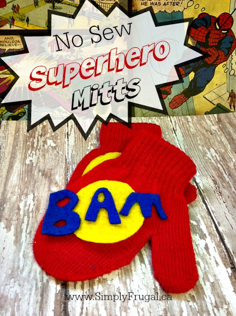 Do you have a Superhero wannabe in your house? Then you've got to check out today's homemade Christmas gift idea!  Create super cool, no-sew superhero mitts!