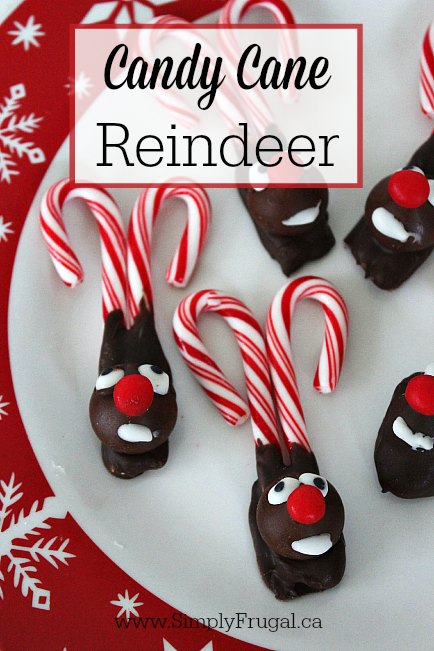 This is the cutest holiday DIY that I ever did see! These candy cane reindeer are so simple to create too! Perfect addition to hot chocolate.