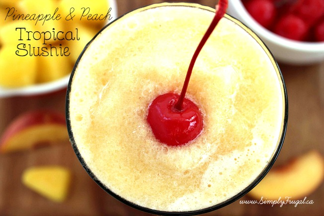These Tropical Slushies with pineapple and peaches will have you totally refreshed and in the summer mood in no time!