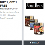 New Hawaiian Punch and Spudlers Coupons from webSaver.ca