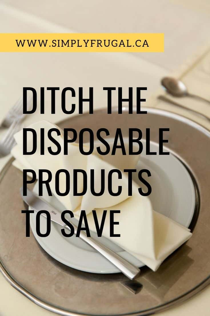 One way to save big is to ditch the disposable products that you use on a daily basis. Here are some ideas to help eliminate or reduce paper/plastic products that you maypurchase on a regular basis.