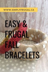 Gather your supplies and give these easy Frugal Fall Bracelets a try. They are simple to make and easy to enjoy!