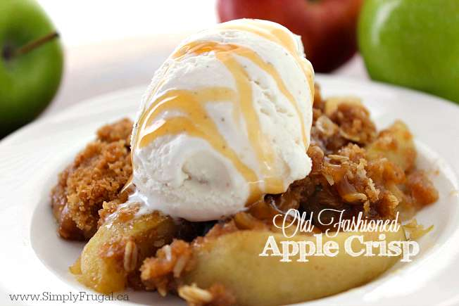 This Old Fashioned Apple Crisp recipe will make for a great family dessert this fall.  Apples topped with an oat streusel topping then baked, pure deliciousness. Since this dish requires only a few ingredients, it comes together quite quickly.