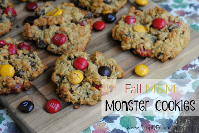 These Fall M&M Monster Cookies have everything! Peanut butter, oatmeal, chocolate chips and M&M's, make for my FAVORITE Cookie!