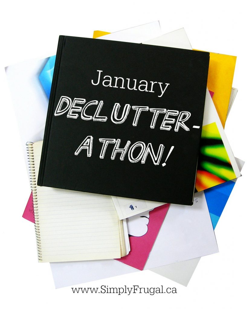Simply Frugal January Declutterathon. Tasks, tips and free printables that will help you to enjoy a cleaner, more organized home by the end of the month!