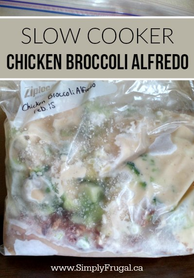 For this Chicken Broccoli Alfredo meal, you take some chicken, broccoli, Alfredo sauce, and bacon bits, toss it all into a freezer bag. That's it. Then to cook it, throw it in the slow cooker for a super simple, family pleasing dinner!