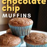 These Zucchini Chocolate Chip Muffins are packed with healthful ingredients like zucchini, whole wheat flour, apple sauce and make a great on-the-go snack.