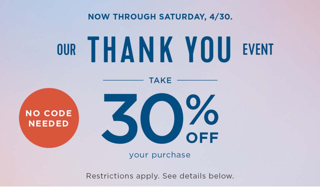 Old Navy Thank You Event 30% Off Everything