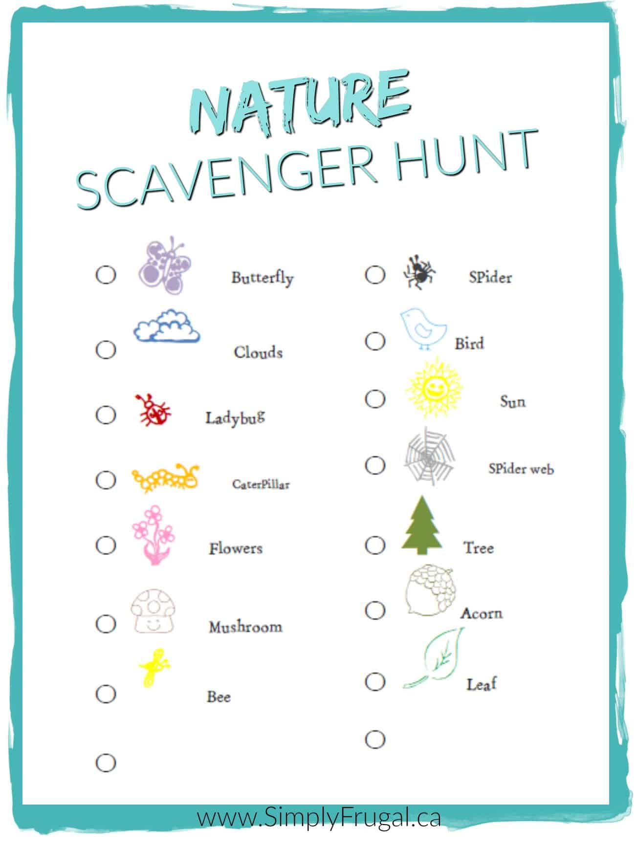 Free nature scavenger hunt printable for Cool things to print out