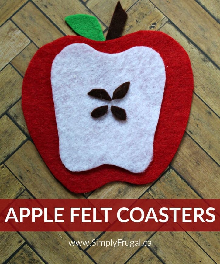 These apple felt coasters were so easy and fun to put together! I love how budget friendly they are. Plus, I always get comments about then from visitors!
