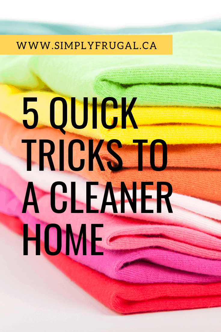 These 5 quick tricks will help you have a cleaner home in no time. #cleaningtips #householdhacks #hacks #cleaning