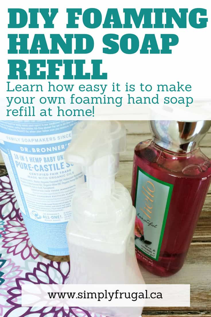 Learn how easy it is to whip up your own DIY Foaming Hand Soap Refill! You'll save a ton of cash in the long run. #diy #soap #soapmaking #clean