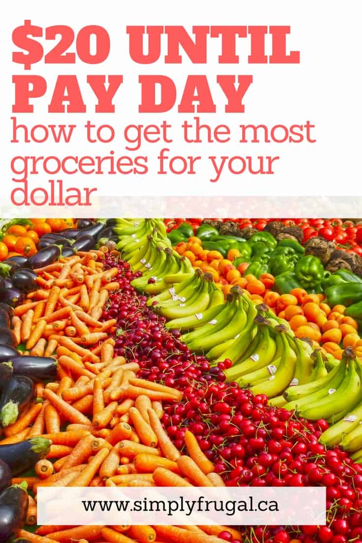 Do you only have $20 left until pay day but still have grocery shopping to do? I love these tips for stretching the grocery budget as far as you can.