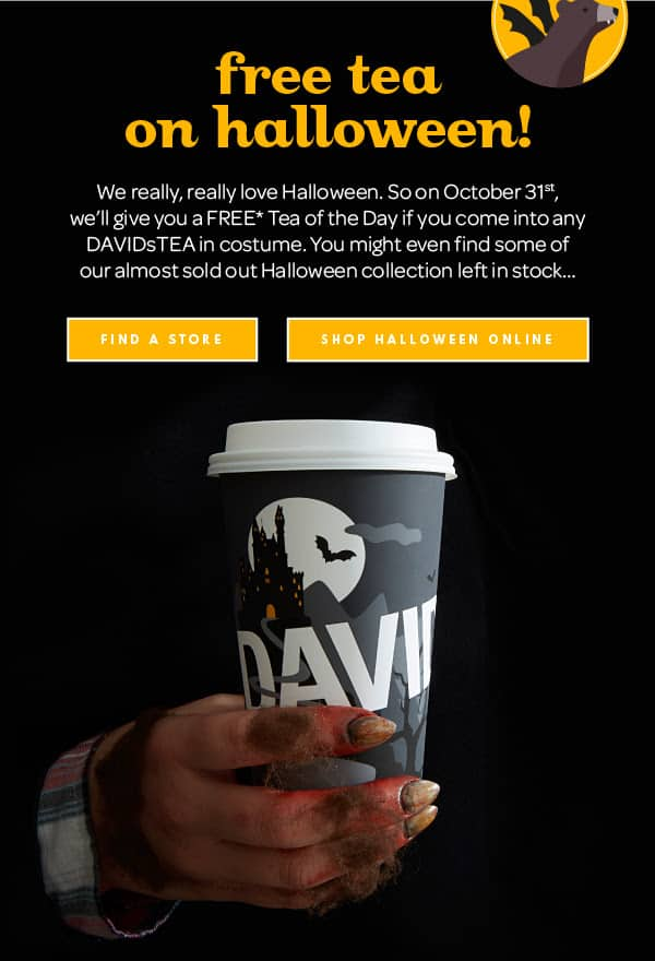 DAVIDs TEA: Free Tea of the Day for Anyone in Costume (Today only!)