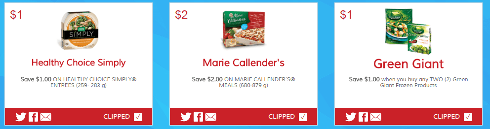 New Printable Coupons for Healthy Choice, Marie Callender's and Green Giant