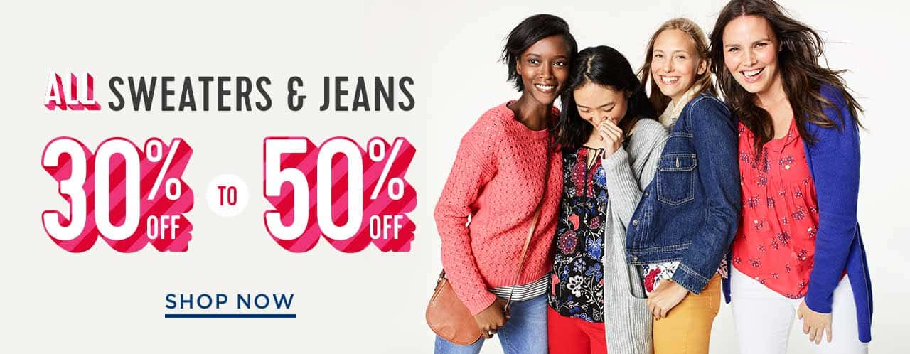 Old Navy: Save 30 – 50% off Sweaters and Jeans