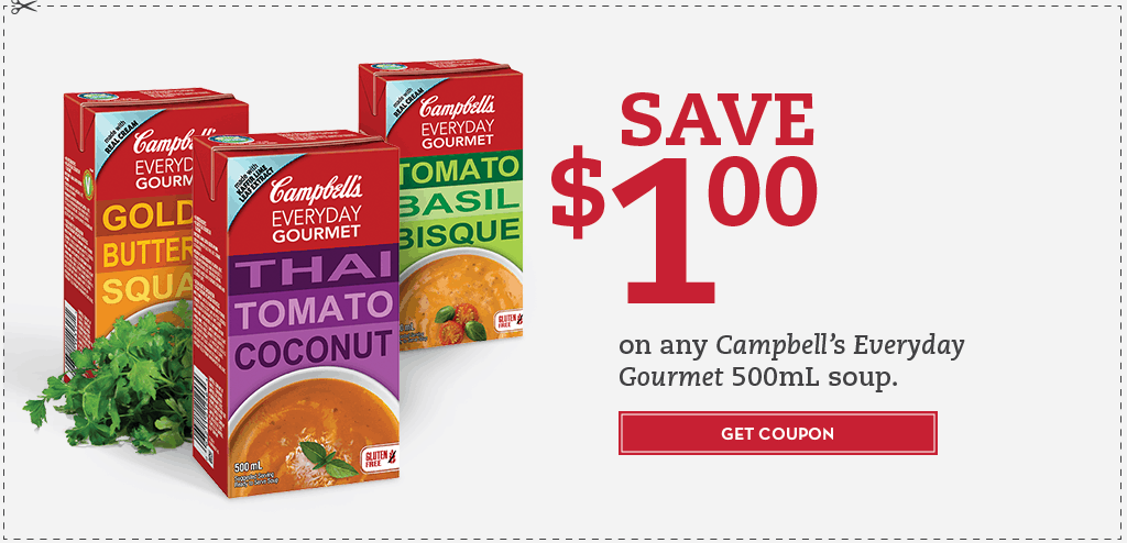 photo regarding Campbell Soup Printable Coupon identify Fresh Coupon for Campbells Each day Gourmand Soups -