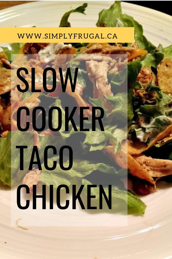 This slow cooker taco chicken is so delicious and so simple to put together! You'll be having taco night in no time flat.