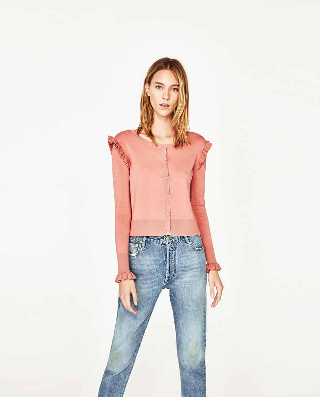 Cardigan with Ruffles only $17.95 from Zara