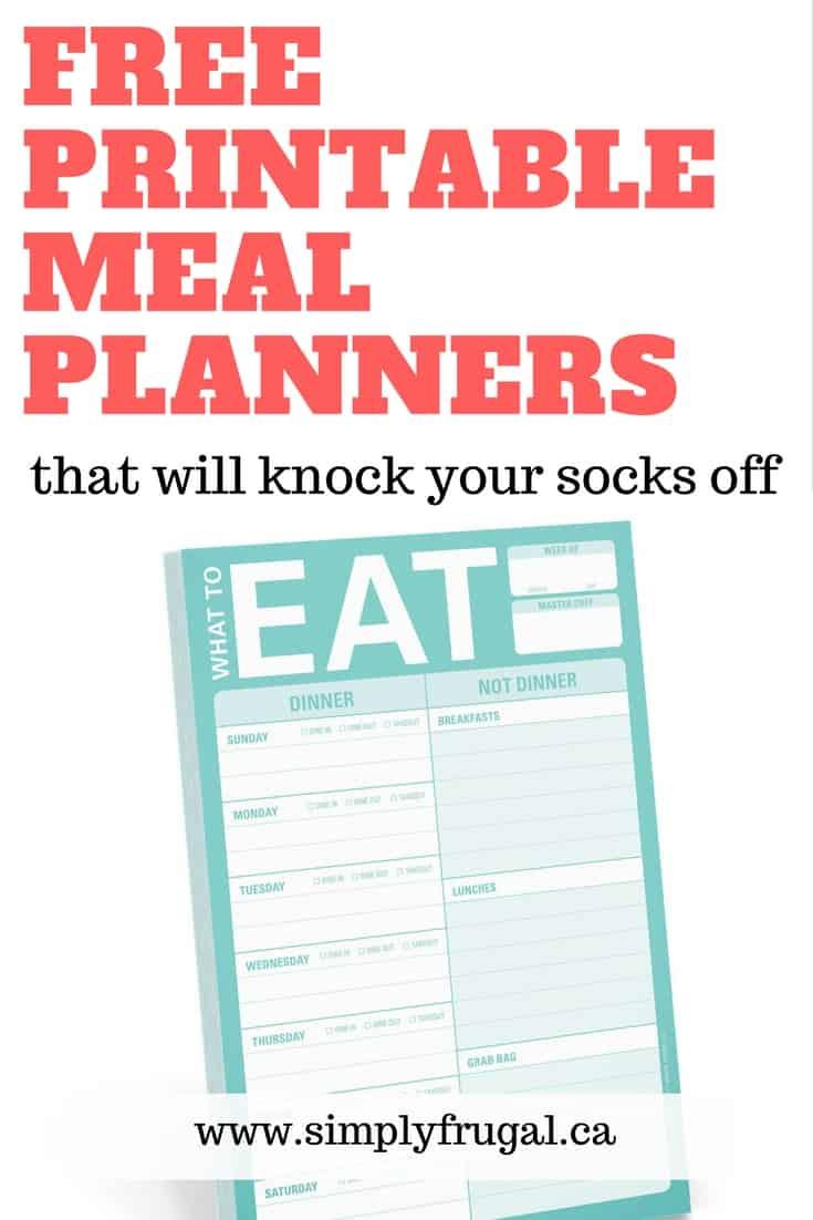7 Free Printable Weekly Meal Planners