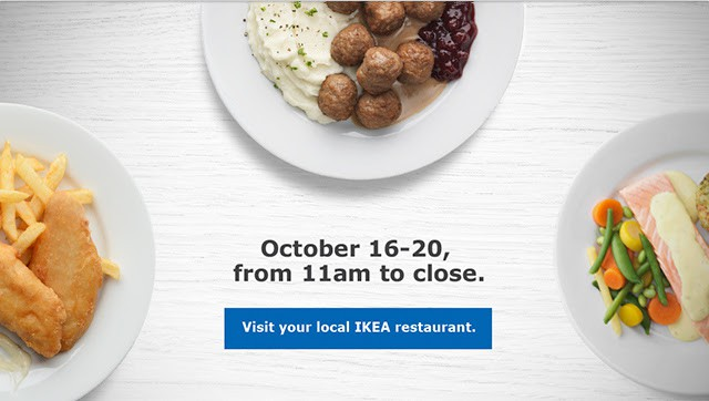 IKEA Canada Restaurant Buy 1 Get Free On Main Dishes