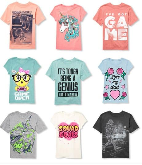 6505857a Know some kids that could use some new t-shirts? How about a graphic tee or  two for as low as $3.99 from The Children's Place? For a limited time you  will ...