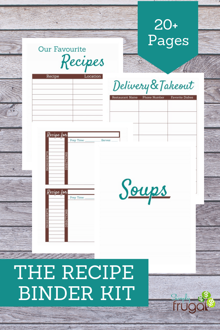 The printables in this kit are designed to be used together to organize your recipes into a personal/family Recipe Binder.