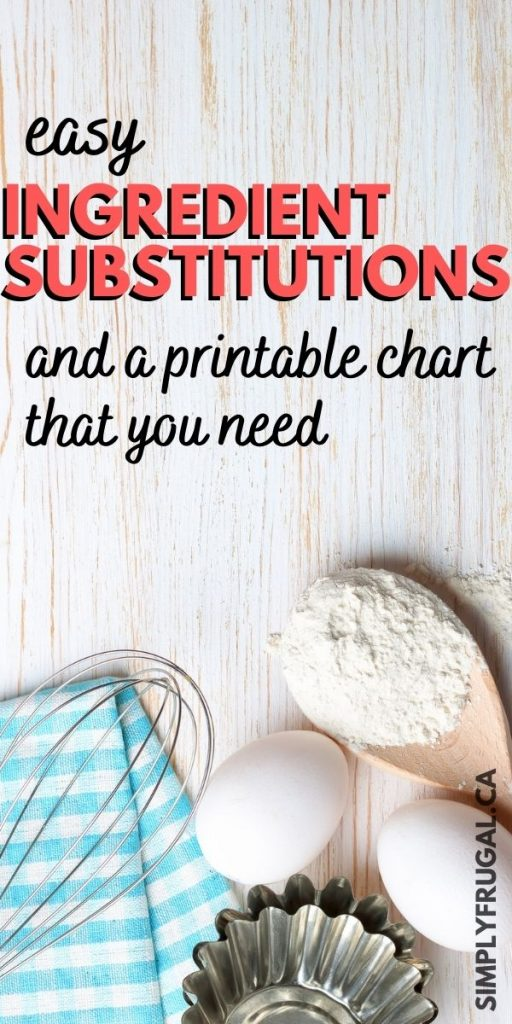 Easy ingredient Substitutions