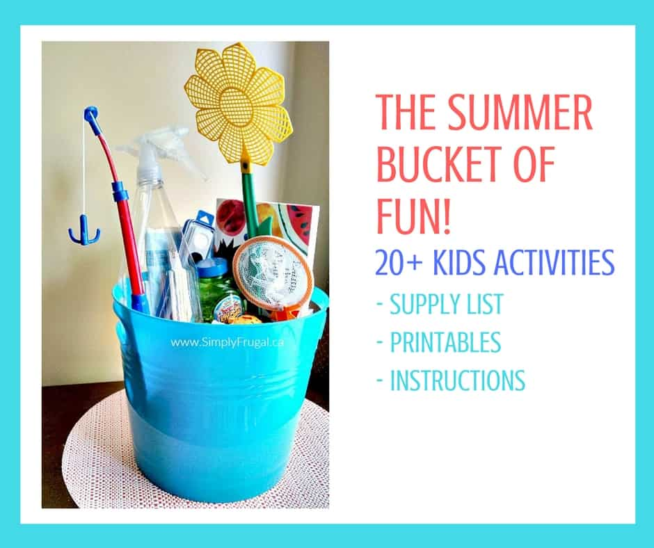 The Summer Bucket of FUN! ebook includes over 20 kids activities with thorough instructions, printables and a supply list so you can easily eliminate summertime boredom. So much fun in one bucket!