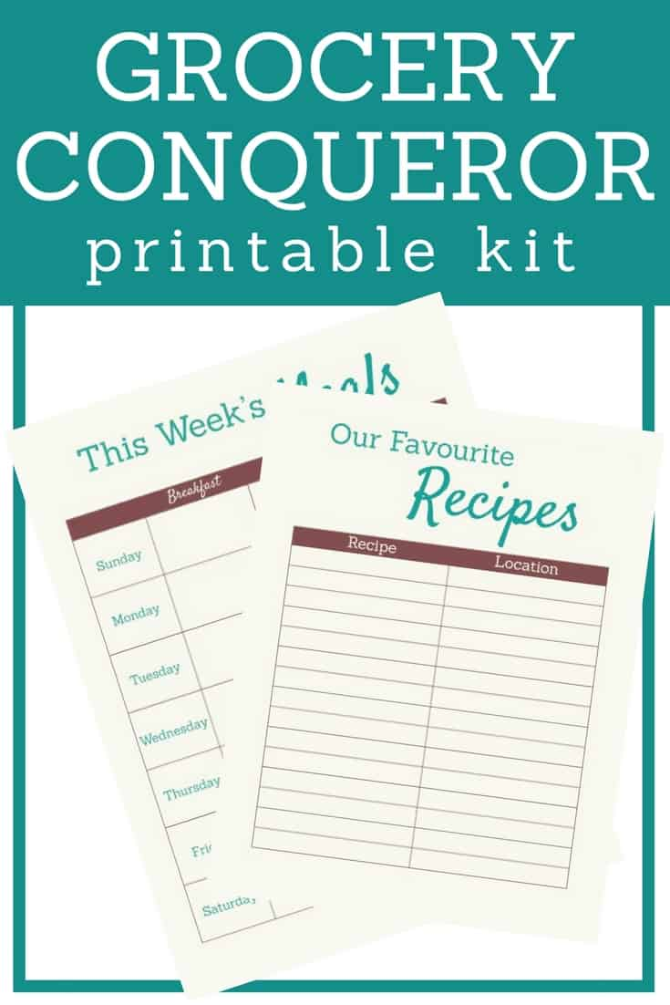 The 50+ page Grocery Conqueror Printable Kit includes 4 sections that will arm you to conquer meal planning, grocery shopping, meal prep and kitchen organization.